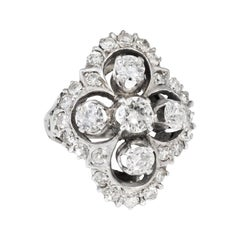 1.70ct Diamond Cocktail Cluster Ring Vintage 14k White Gold Estate Certificate