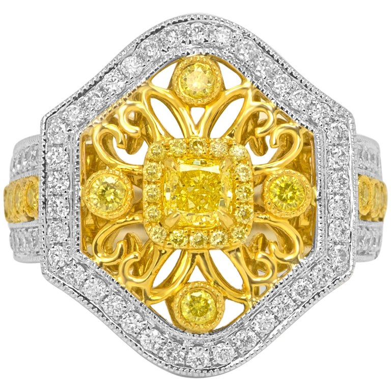 Natural Fancy Yellow Diamond Halo Two-Color Gold Cocktail Ring