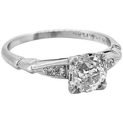 .85 Carat Diamond Art Deco Antique Engagement Ring Platinum