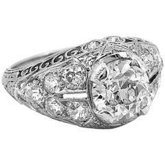 Art Deco 1.10 Carat Diamond Platinum Engagement Ring