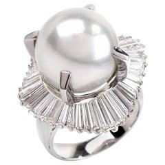 1980s Platinum Baguette Diamond Ballerina Cocktail Pearl Ring