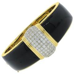 Diamond and Onyx Inlay Bangle