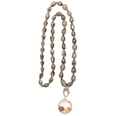 Clarissa Bronfman 14 Karat Gold Love Shaker on Labradorite, Diamond Necklace