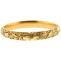 Art Nouveau Etched 14 Karat Gold Floral Bangle Bracelet by Shreve & Co.