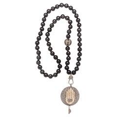 Clarissa Bronfman Onyx, Diamond, and Silver Hamsa Hand Pendant Beaded Necklace