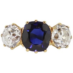 Victorian Natural Sapphire and Diamond Three-Stone Antique Ring with Certificate