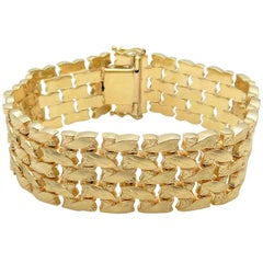 14 Karat Yellow Gold Five-Row Line Bracelet