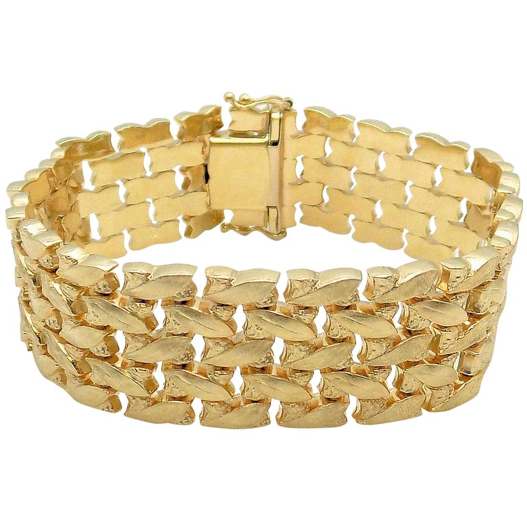 14 Karat Yellow Gold Five-Row Line Bracelet For Sale