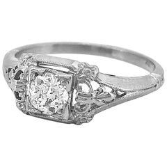 Art Deco .33 Carat Diamond Antique Engagement Ring 18 Karat White Gold