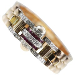 1950s Retro Rose Gold Ruby and Diamond Dome Bracelet