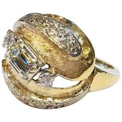 1960s VVS 1.07 Carat Emerald Cut Diamond Gold Florentine Brutalist Dome Ring