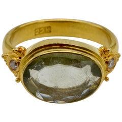 Aquamarine and Diamonds Set in 22 Karat Gold Granulated Ring