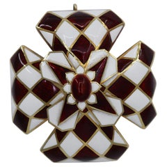 David Webb Gold and Enamel Harlequin Maltese Cross Brooch and Pendant