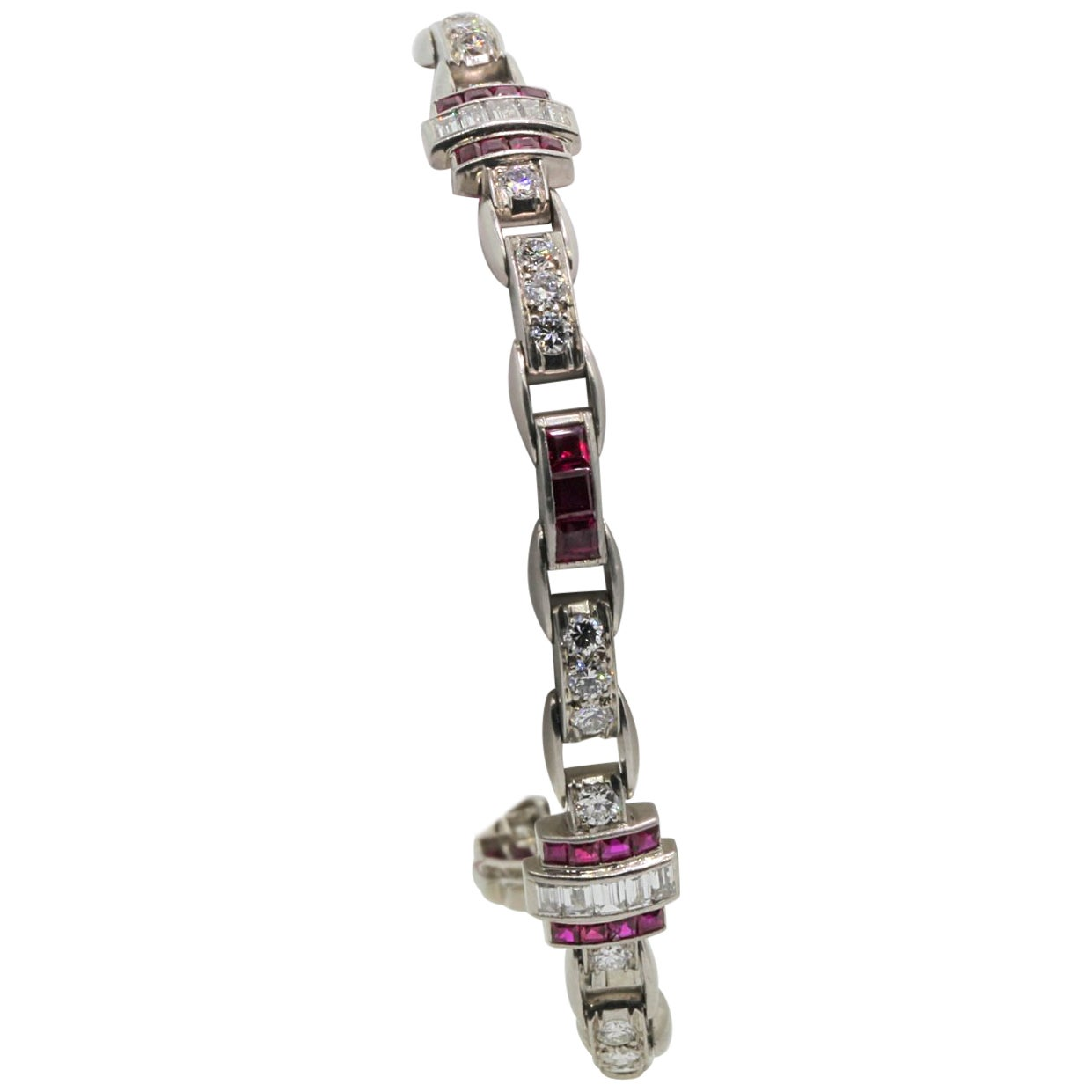 Vintage Burma Rubies and Diamond Platinum Bracelet