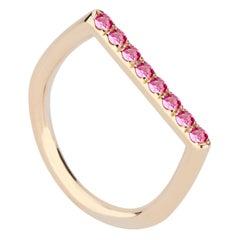14 Karat Yellow Gold and Pink Sapphire Stacking Ring