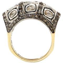 Lady Jagger Single Cut Diamond 22 Karat Gold Overlay Cocktail Ring