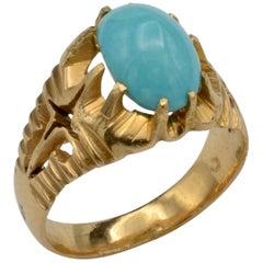 Midcentury Persian Turquoise and 18 Karat Gold Ring