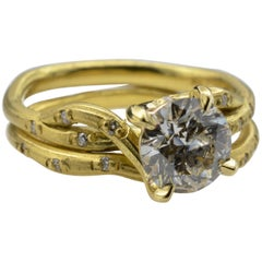 Old Mine Cut Solitaire Diamond Ring 1.18 Carat in Textured Yellow Gold with Band