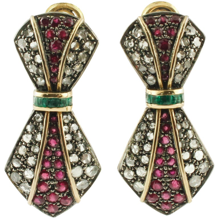 Diamonds Rubies Emeralds Yellow Gold and Silver Earrings For Sale