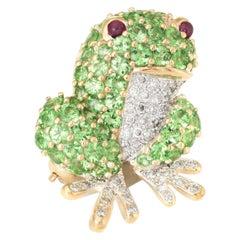 Frog Pendant Brooch Vintage 18 Karat Gold Tsavorite Garnet Diamond Ruby