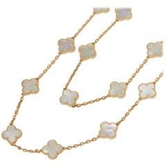 Van Cleef & Arpels 18 Karat Yellow Gold Mother-of-Pearl Alhambra Necklace