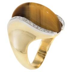 1970s Tigers Eye Diamond Cocktail Ring Vintage 18 Karat Yellow Gold