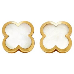 Van Cleef & Arpels 18 Karat Yellow Gold Mother-of-Pearl Pure Alhambra Earrings