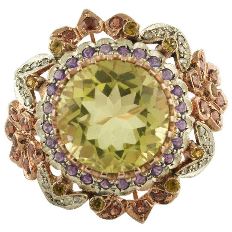 Diamonds Lemon Citrine Amethysts Yellow Topazes Garnets Rose Gold, Silver Ring