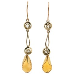 Topaz 9 Karat Yellow Gold Drop Earrings