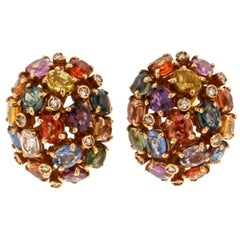 Multi-Color Sapphires Gold Clip-On Earrings