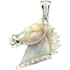 Opal Horse 18 Carat White Gold Diamonds Pendant Necklace