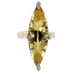 18 Karat Beryl White Gold Diamonds Cocktail Ring