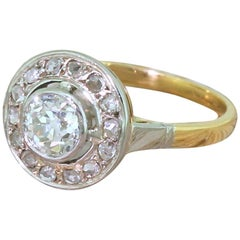 Art Deco 0.68 Carat Old Cut and Rose Cut Diamond Cluster Ring, circa 1920
