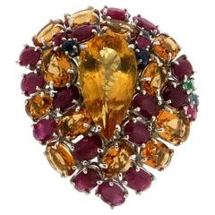 Citrine Gold Diamonds Cocktail Ring
