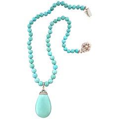Turquoise 18 Carat White Gold Diamonds Pendant Necklace