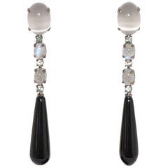 Agate, Labradorite and White Diamonds on Black Gold 18 Karat Chandelier Earrings