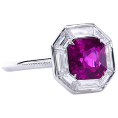 GIA Certified 2.27 Carat Natural Hot-Pink Sapphire Ring with Diamond Baguettes
