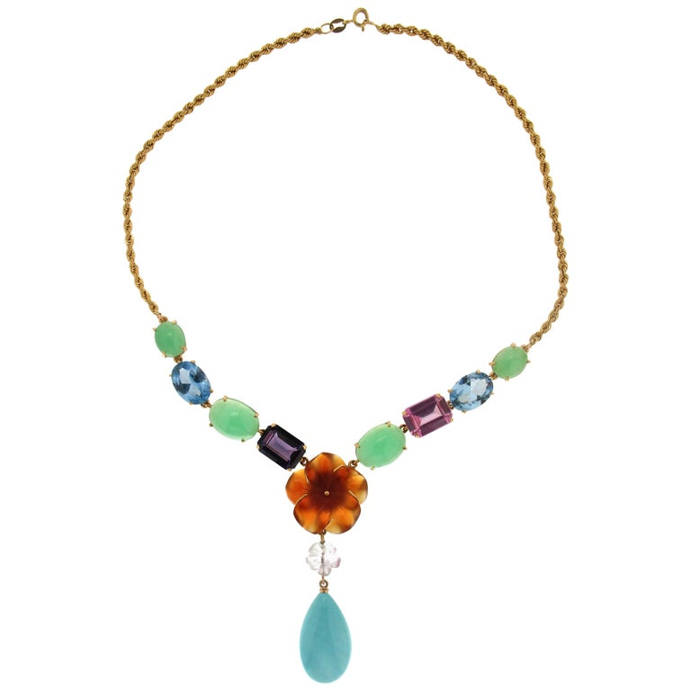 Turquoise 18 Carat Yellow Gold Pendant Necklace