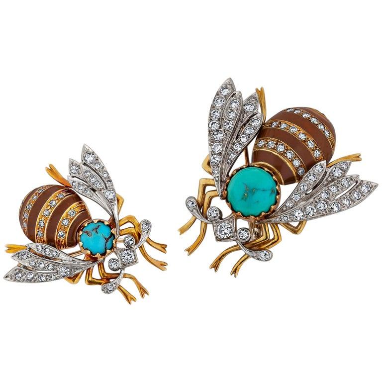 Diamond Gold Turquoise Enamel Bee Brooches