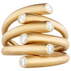 Carelle 18 Karat Yellow Gold and .48 Carat Diamond Whirl Multi-Band Ring