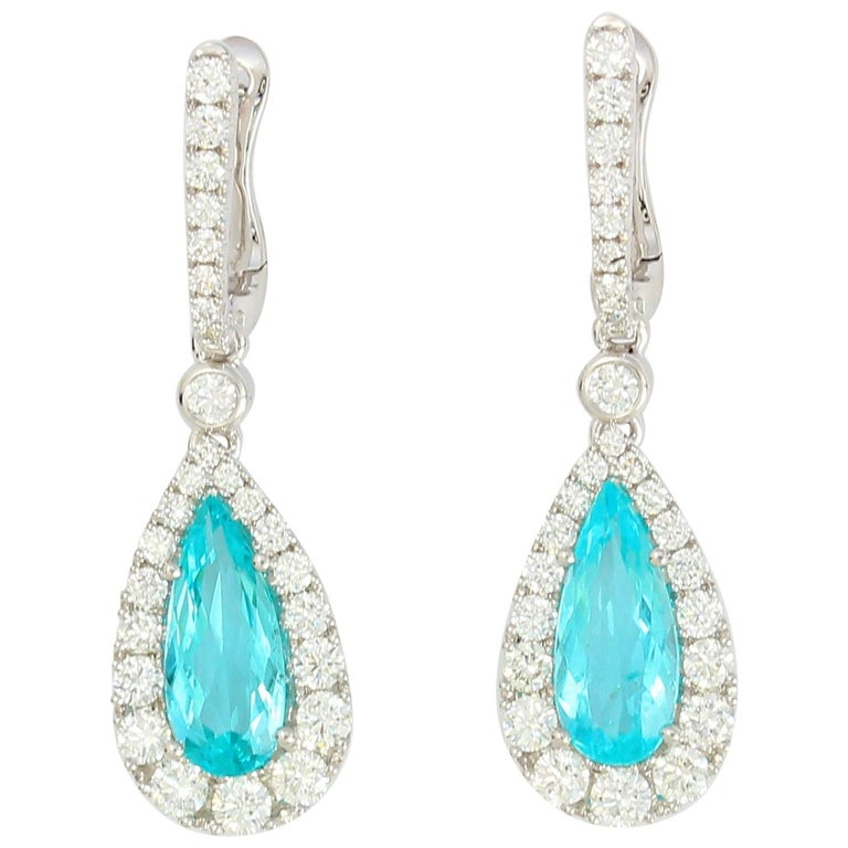 Frederic Sage 2 10 Carat Neon Paraiba Tourmaline One Of Kind Earrings