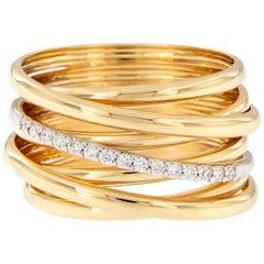 Italian Multi-Band Diamond Gold Ring