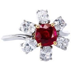 Gubelin Certified Pigeon-Blood 1.61 Carat Unheated Burmese Ruby and Diamond Ring