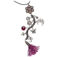 Clarissa Bronfman Ruby, Diamond, Sapphire, 'Angel Gypsy' Symbol Tree Necklace