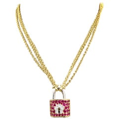 Vintage 18 Karat Lock and Key Ruby and Diamond Necklace