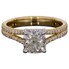 Yellow Gold and Platinum 2.50 Carat Cushion Diamond Split Shank Engagement Ring