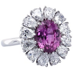 GIA Certified 2.64 Carat Pink Sapphire Platinum Couture Cluster Diamond Ring
