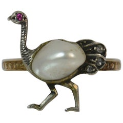 Unique Ostrich Design Victorian Pearl Ruby Diamond Novelty Gold Ring