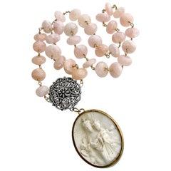 Pink Morganite Filigree Clasp with French Meerschaum Reliquary Ex Voto Pendant
