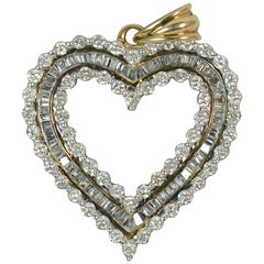 1.00 Carat Diamond and 9 Carat Gold Heart Pendant